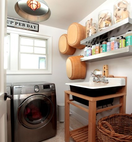 Outstanding Stainless Steel Floating Shelf Laundry Room Eclectic With Wall Decor And Tile Flooring Collection Floating Shelves Pendant Lighting