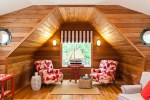 Pretty Nautical Themed Room Ideas Family Room Beach Style with Theme Wood Ceiling Red Armchairs Portal Windows Walls Garden Stool Model Sailboat Striped Roman Shade Lights