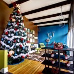 Sparkling Modern Christmas Decor Living Room Midcentury With Dark Stained Wood And Dark Stained Wood Beams. Wood Floor Colorful Interiors Dark Stained
