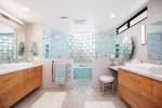 Splendid Walk in Shower Remodel Bathroom Beach Style with His and Hers Vanity Symmetrical Coastal Style Custom Tile Makeup Counter Showers Mirror Mirrors