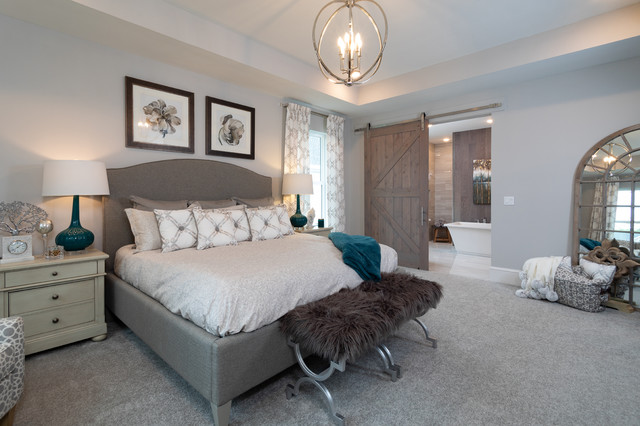 Wonderful Brown And Turquoise Bedroom Ideas Bedroom Transitional With Gray Carpet And Turquoise Table Lamps Arched Floor Mirror Art Above Bed Beige