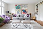 Brilliant Emma Tufted Sofa Living Room Transitional with Purple Barrel Back Armchair Gallery Wall Gray Area Rug Oval Coffee Table Black Drum Shade Flat-weave Rug Gray Natural Light Organic