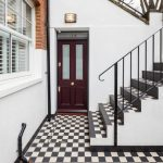 Extraordinary Apartment Front Door Entry Transitional With Black Iron Railing And Red Brick Exterior