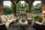 Imaginative Faux Ceiling Beams Patio Traditional Greenville, SC with Wood Exposed Dining Chairs Table Branch Motif Chandelier Beige Cushions Brick Pillars Garden Paths Cathedral