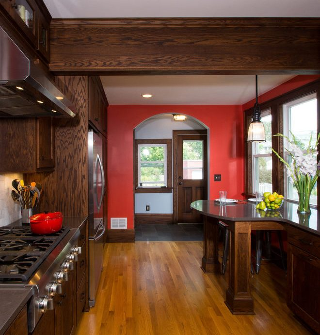 Imaginative Oak Cabinets  Kitchen Craftsman With Peninsula Seating And Dark Wood Cabinets Accent