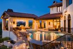 Splendid Covered Outdoor Living Pool Mediterranean with Patio Lighting Disappearing Edge Pool Santa Barbara infinity Staircase Furniture Wrought Iron Railing Zero