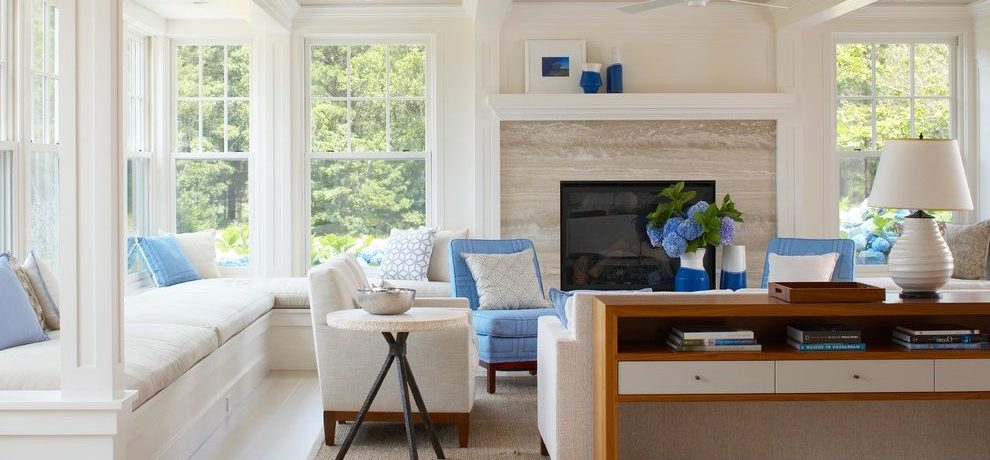 Awesome Blue Slipper Chair Living Room Beach Style With Blue Chairs And Sisal Area Rug Beach House