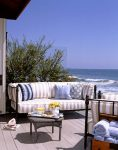 Beautiful Fabric Guru Outdoor Patio Traditional with Beige Striped Cushions Waterfront Oceanfront Sofa Beach Front Sunbrella Towel Storage Blue Throw Pillow