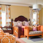 Beautiful White Polka Dot Curtains Bedroom Traditional With Orange Armchair And Pink Bedding Beige