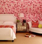 Delightful Borghese Mirrored Chest Bedroom Transitional with Bedside Table Bright Pink Wallpaper White Bed Frame and Colorful