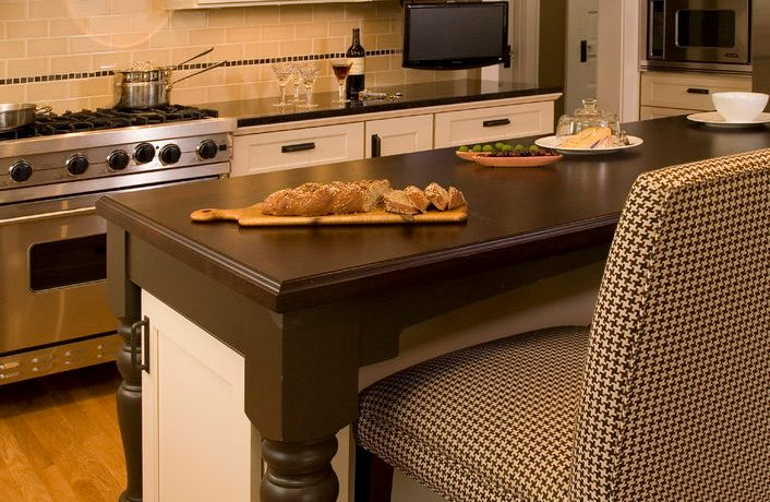 Delightful Brown Houndstooth Chair Kitchen Traditional With Stainless Steel Appliances And Island