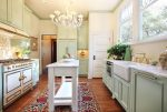 Fabulous Cedar Key Benjamin Moore Kitchen Victorian with Kitchen Rug Custom Cabinets Suzani Rug Brass Faucet Painted Cabinets Microwave Drawer Chandelier Green Concetto Coutnertops