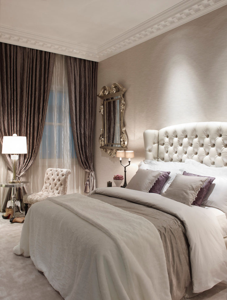 Good-Looking Mocha Color Paint Bedroom Traditional With Ornate Mirror And Button-back Headboard