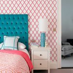 Good-Looking Orange And Pink Wallpaper Kids Contemporary With Teal Blue Velvet Tufted And Teal