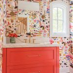 Good-looking Orange And Pink Wallpaper Powder Room Transitional With N And N
