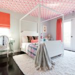 Imaginative Orange And Pink Wallpaper Transitional Los Angeles, California With Teenage Girls Bed