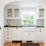 Magnificent Backsplash For White Cabinets Kitchen Traditional With Grey Kitchen And Hardwood Floor