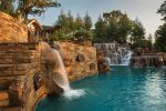 Pretty Beautiful Design Underground Rustic Themed Pool with Waterfalls, Slide and More with Custom Pool Designs Waterfall into Pools On Slopes Oklahoma Builder Beach