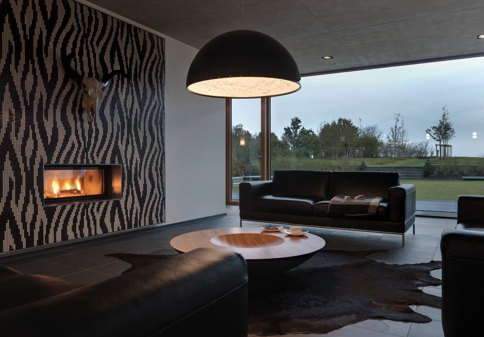 Wonderful Black And White Cow Rug Living Room Modern With Recessed Lighting And Tile Fireplace