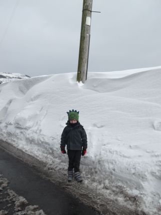 Small boy - big snow.