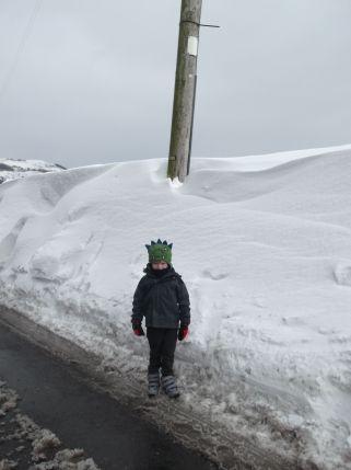 Small boy - big snow.