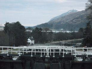 Stair case locks a near Fort William looking towards Loch Linnhe