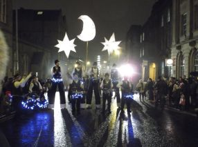 Stilt Batteristas with Handmade Parade Moon and Stars