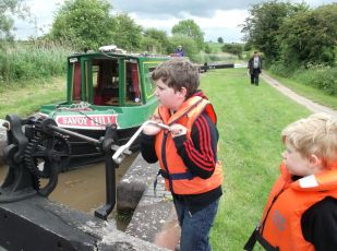 Big J working his windlass on the Birmingham and Worcester Canal.