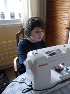 Testing Grandma's new sewing machine.