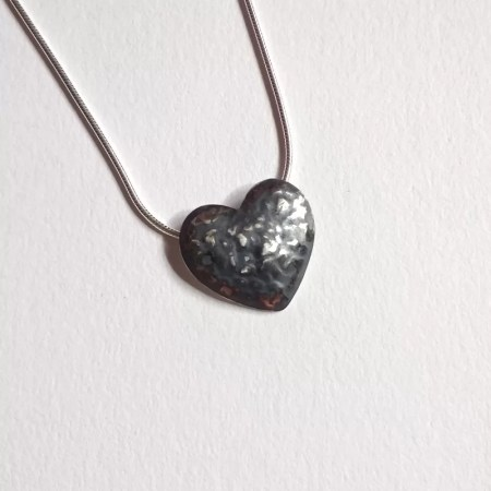 Katherine Yelland - black wave heart pendant