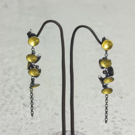 Jennifer Wall - Cluster drop earrings with yellow gold leaf