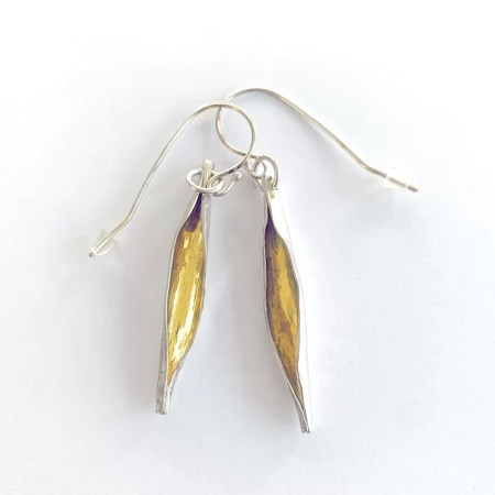Contrary Mary - silver and gold drop earrings
