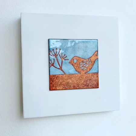 Janine Partington - Bird on a branch enamel artwork