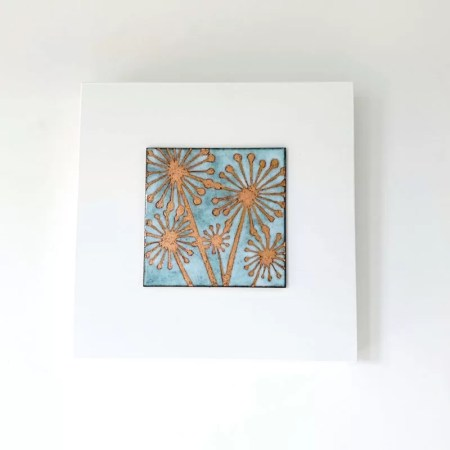 Janine Partington - agapanthus flower enamel copper panel