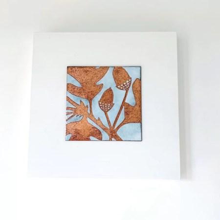 Janine Partington - oak leaves enamel copper panel