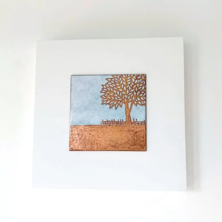Janine Partington - Leafy tree enamel copper panel
