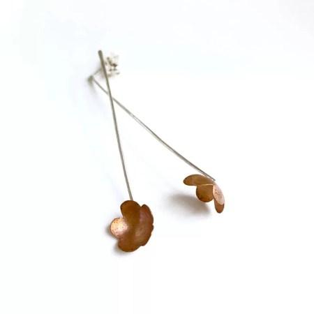 Julia Wright - Long drop flower earrings
