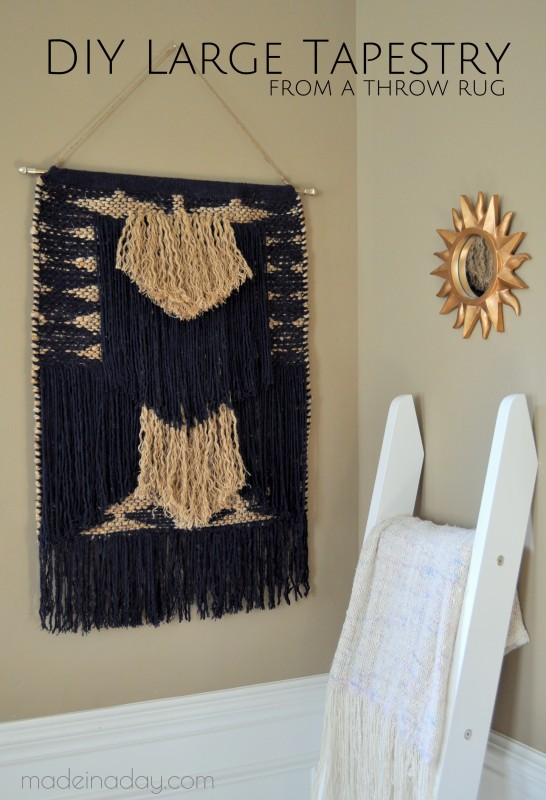 DIY Large Tapestry made from a rug madeinaday.com