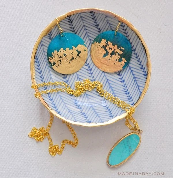 DIY Gold Gilded Earrings Jewelry Bowl Tutorial madeinaday.com