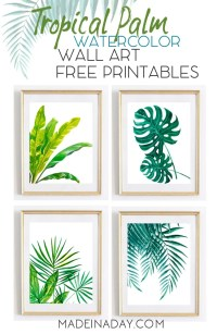 Tropical Palm Watercolor Wall Art Printables  Made in a Day