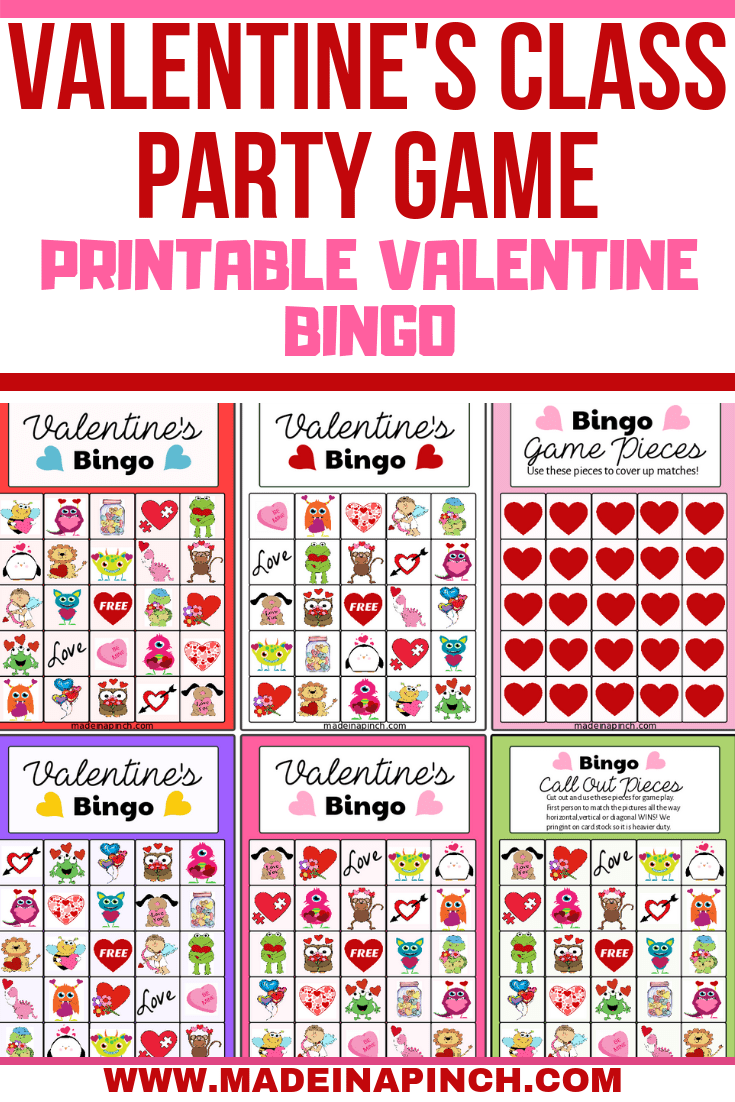 Valentine's Day Bingo is one of our favorite Valentine's Day party games! Grab the FREE printable on Made in a Pinch, and for more great ideas and easy recipes follow us on Pinterest.