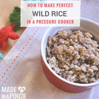 Pressure cooker wild rice social media graphic