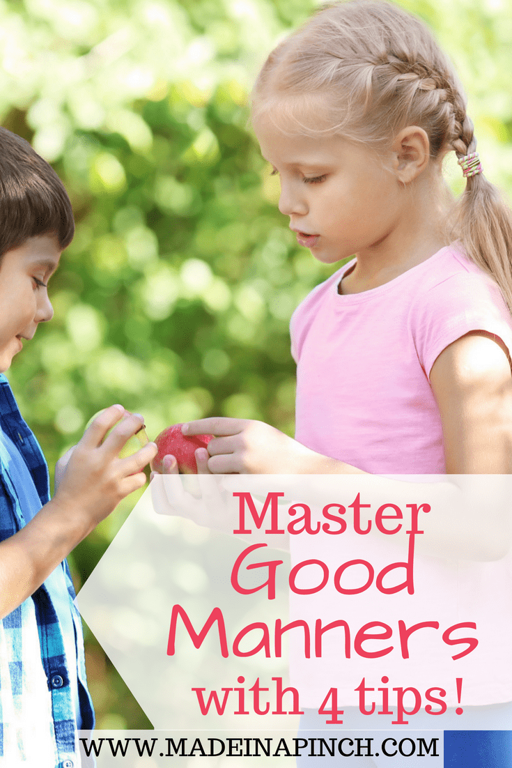 Teaching good manners at home is the first step toward instilling good manners elsewhere. Get our tips for teaching good manners at home at Made in a Pinch. For more tips, recipes and family life hacks, follow us on Pinterest!