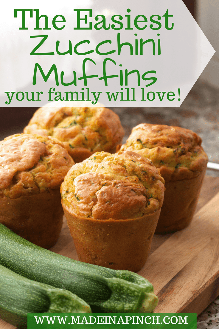 Zucchini muffins are a great family snack! Grab our recipe for the easiest zucchini muffins at Made in a Pinch. For more great recipes and tips, follow us on Pinterest!