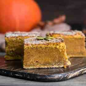 Pumpkin pie bars are easy to make and taste amazing! Grab our recipe for the best tasting easy pumpkin pie bars at Made in a Pinch. For more great recipes and helpful tips, follow us on Pinterest!