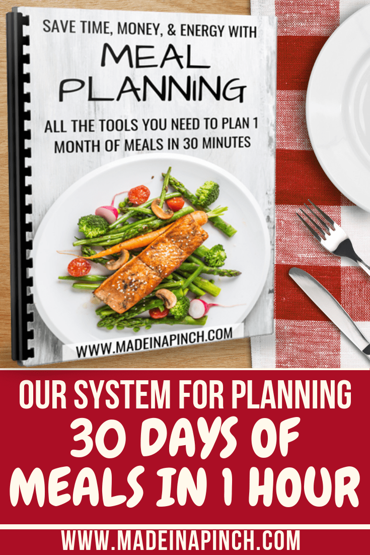 Become an amazing meal planner and save time and money at the same time with this helpful system! Grab our free printable system at Made in a Pinch and follow us on Pinterest for more helpful tips and delicious family recipes