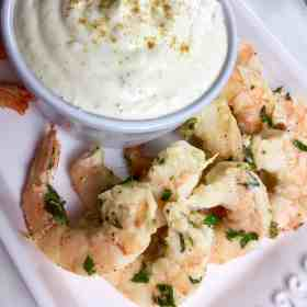 This Garlic Parmesan Shrimp with Roasted Garlic Dip makes an amazing and easy appetizer! Grab the recipe at Made in a Pinch. For more delicious recipes and helpful tips follow us on Pinterest!