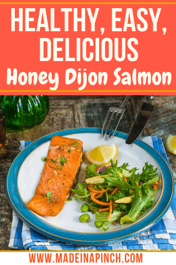This easy, healthy, delicious honey dijon salmon makes a perfect weeknight meal! Grab our recipe at Made in a Pinch and follow us on Pinterest for more simple recipes and helpful tips!