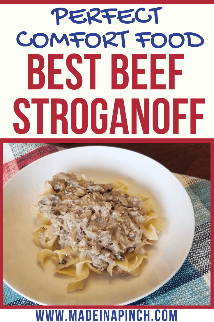 Our Stew Meat Beef Stroganoff makes an amazing and delicious weeknight meal. Follow us on Pinterest for more delicious recipes and helpful tips!