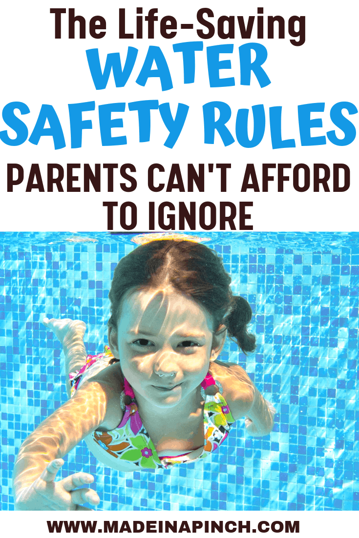 Water Safety Rules Pinterest Pin with girl swimming underwater